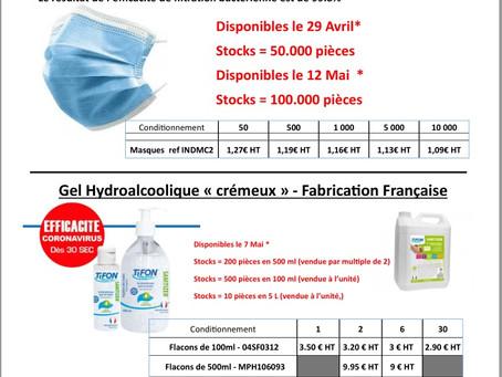 Masques chirurgicaux et gel Hydroalcoolique
