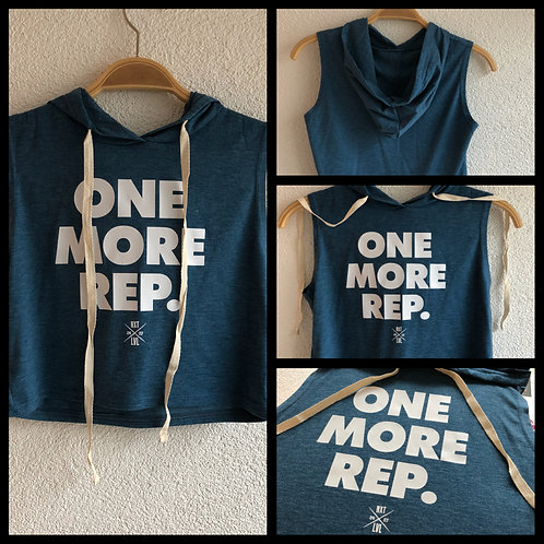 "Ladys ""One more Rep."" Hooded Crop Top"