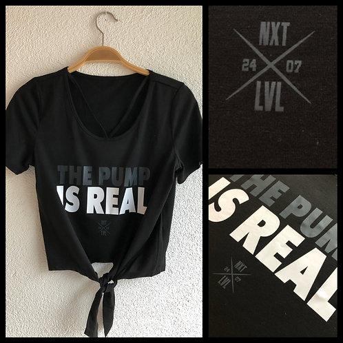 """Ladys """"The Pump is Real"""" T-Shirt mit V Ausschnitt un Knoten"""