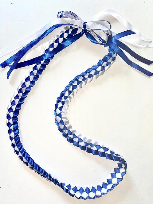 Grad Ribbon Weave Lei Blue & White