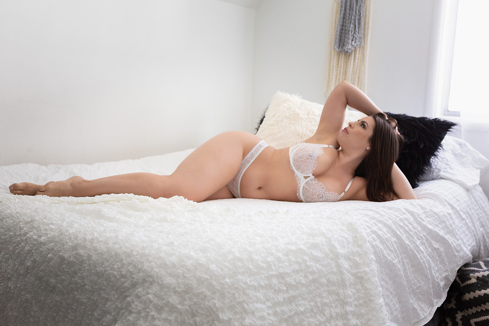 mermaid pose white boho boudoir vancouver wa