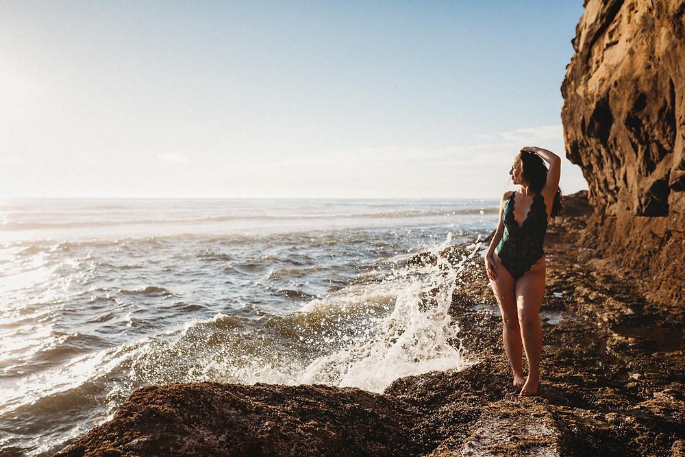 waves crashing boudoir bodysuit oregon coast