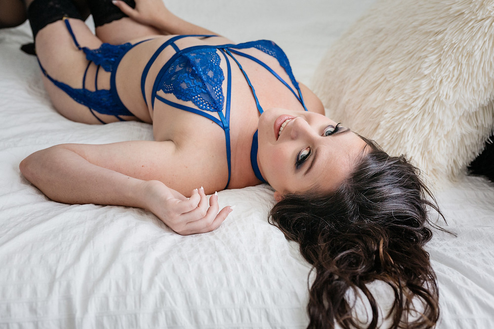 colbalt blue lingerie brunette portland or