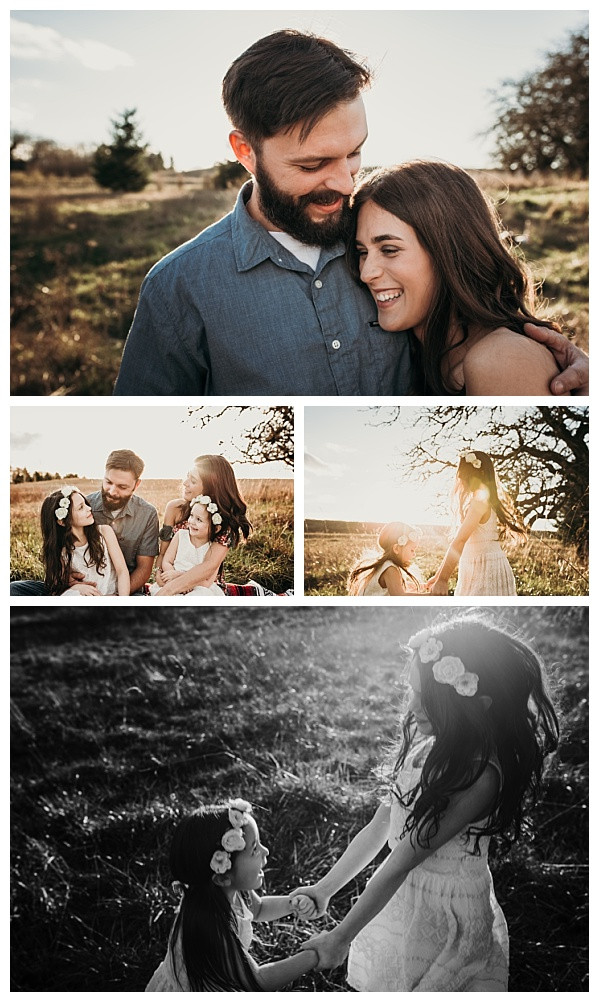 modern family photos with flower crowns and flowy dresses at sunset