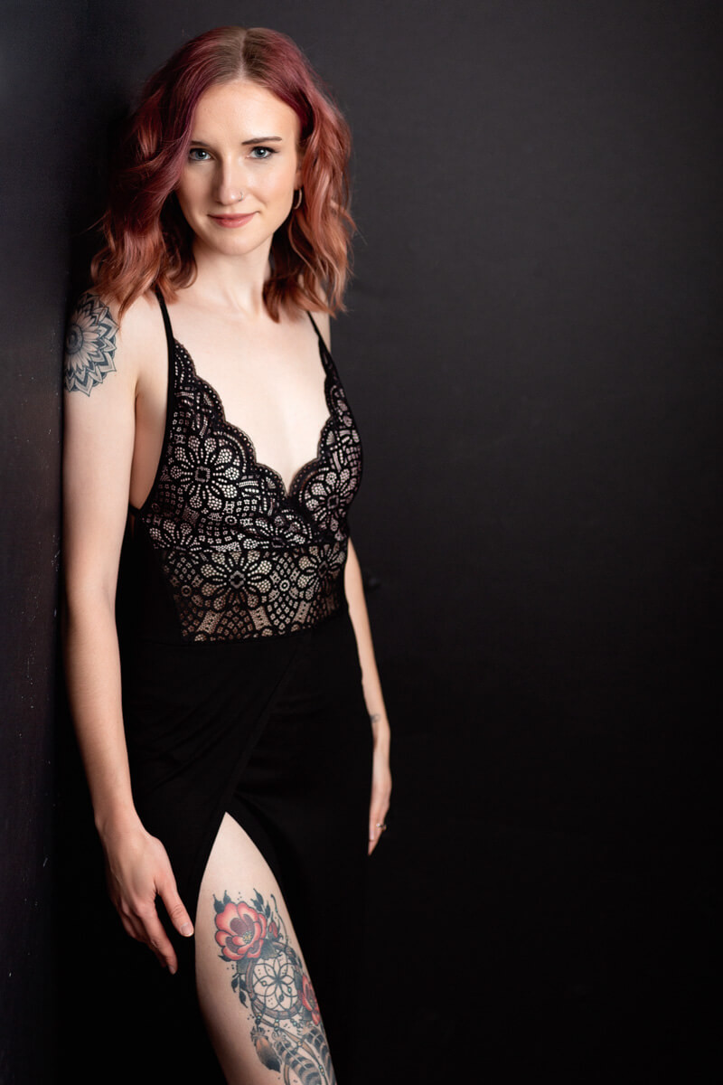 black lace dress in modern glam photos portland or