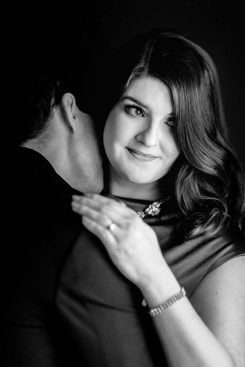 black and white magazine style photo in a glam modern style portrait