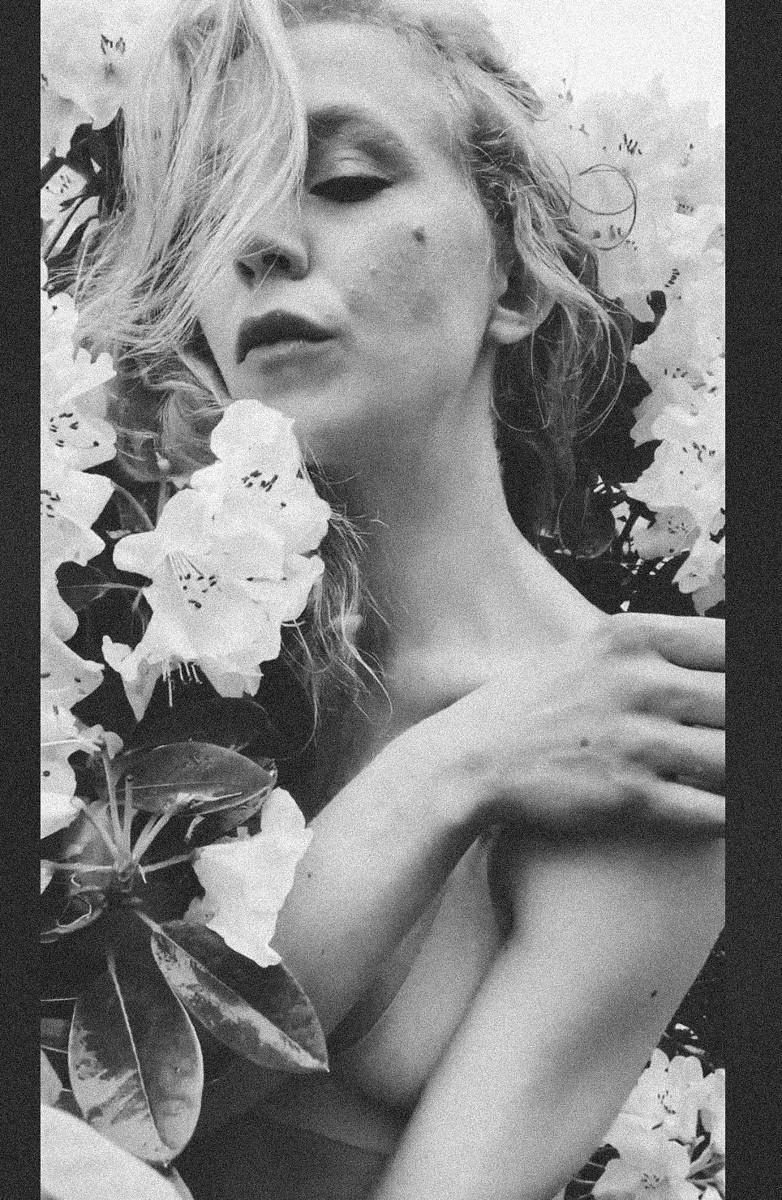 blonde in flowers beauty portrait portland or