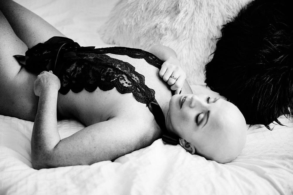 portland black and white boudoir cancer survivor