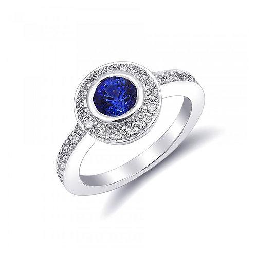 14k White Gold 1.41ct TGW Blue Sapphire and White Diamond Ring