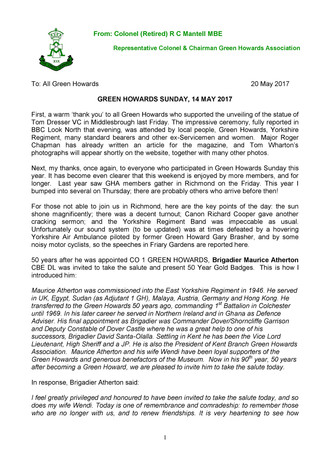 Please find attached a Green Howards Sunday message from our Representative Colonel, Colonel Clive M