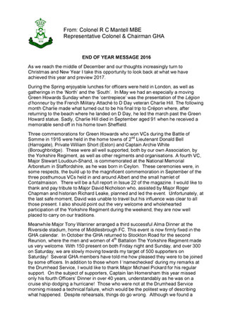 End of Year Message fromColonel Clive.
