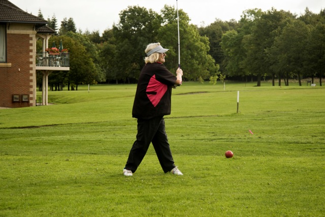 Sue Hodgson tees off on her way to winning the ladies section_