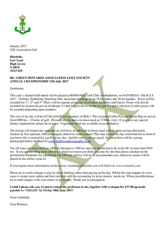 GREEN HOWARDS ASSOCIATION GOLF SOCIETY ANNUAL CHAMPIONSHIP 15th July 2017