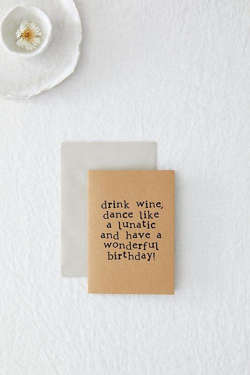 Drink Wine Greeting Card