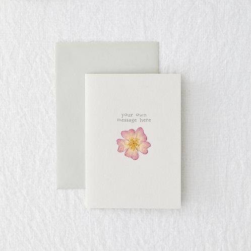 Pink pressed flower personalised card
