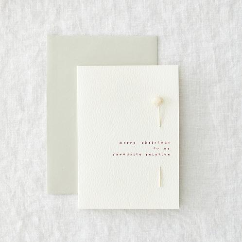 Relative - Threaded dried flower card