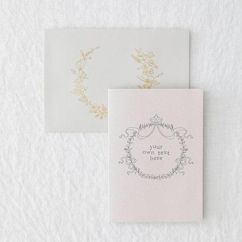 Pink floral circle personalised card