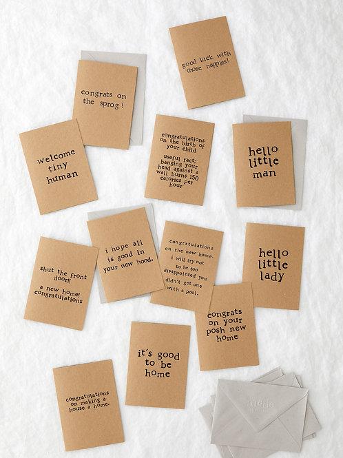 Kraft card bundle - new baby & home