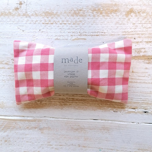 Lavender and wheat pillow - pink check
