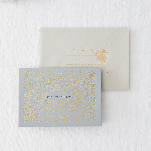 Gold foil grey personalised card