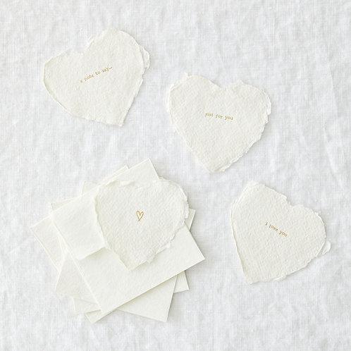 Set of 4 mini heart notelets