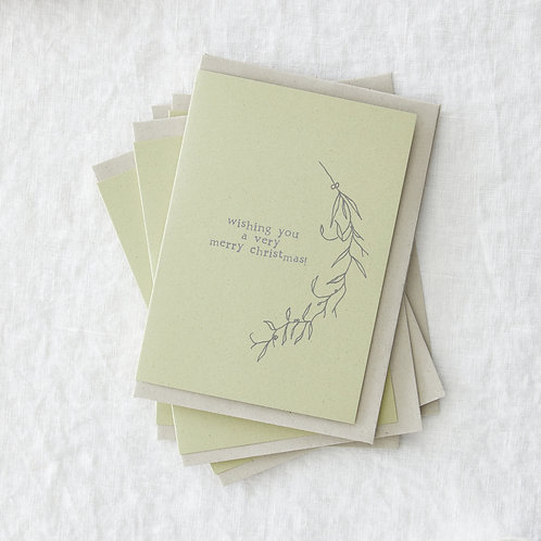 Set of 6 Merry Christmas greeting cards