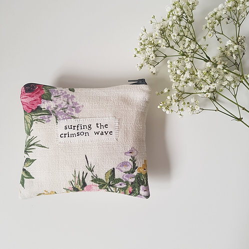 Surfing The Crimson Wave - White Floral Feminine Product Storage