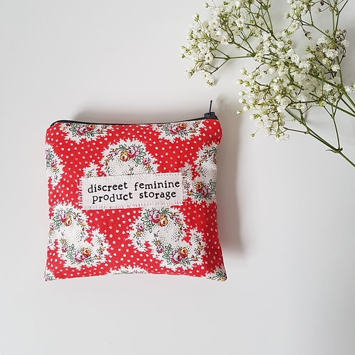 Discreet Feminine Product Storage - Red Floral