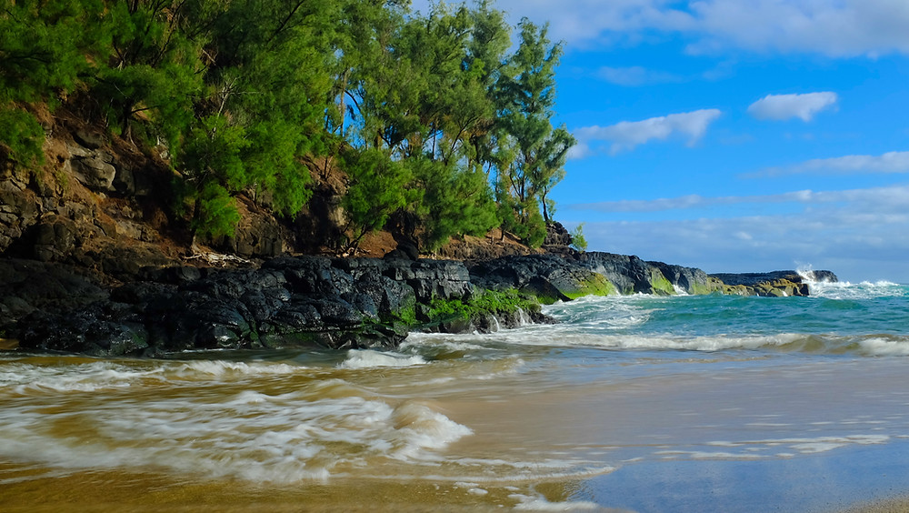 Lumahai Beach Kauai where river meets the stream