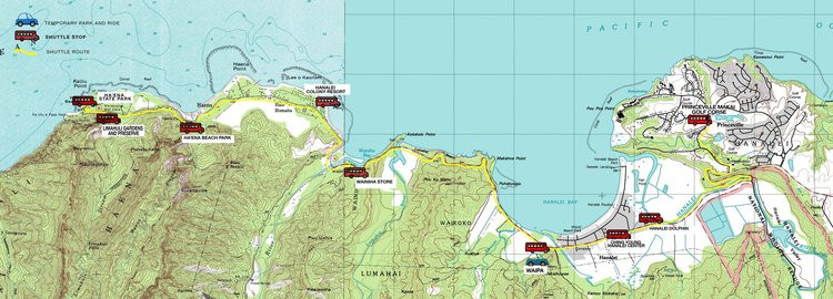 Map stops on Kauai North Shore Shuttle