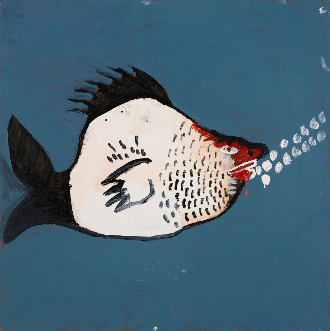 130a-20 'The Loveable Young Fish In Love With The Angry Female Fish' 2020 Enamel paint and mixed media on masonite board 109 x 109 cm