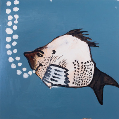 130-20 'The Loveable Young Fish In Love With The Angry Female Fish' 2020 Enamel paint and mixed media on masonite board 109 x 109 cm