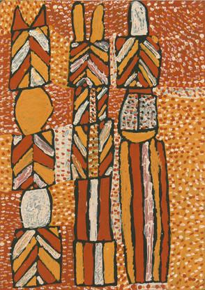 APU 381-27 2007 Natural Ochres & binder on canvas 107x77cm