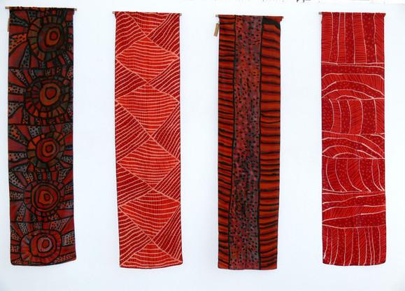 Left to right:  Estelle Munkanome EM HP6-26  Silk scarf  172 x 43cm  Finton Timaepatua FT R10-26  Silk scarf  172 x 43cm  Alexandrina Kantilla AK HP8-26  Silk scarf  172 x 43cm  AK R13-26  Silk scarf  172 x 43cm