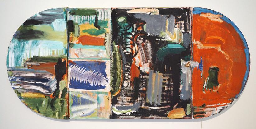 'Knotley', 2016 Oil & screenprint on canvas 72 x 162cm