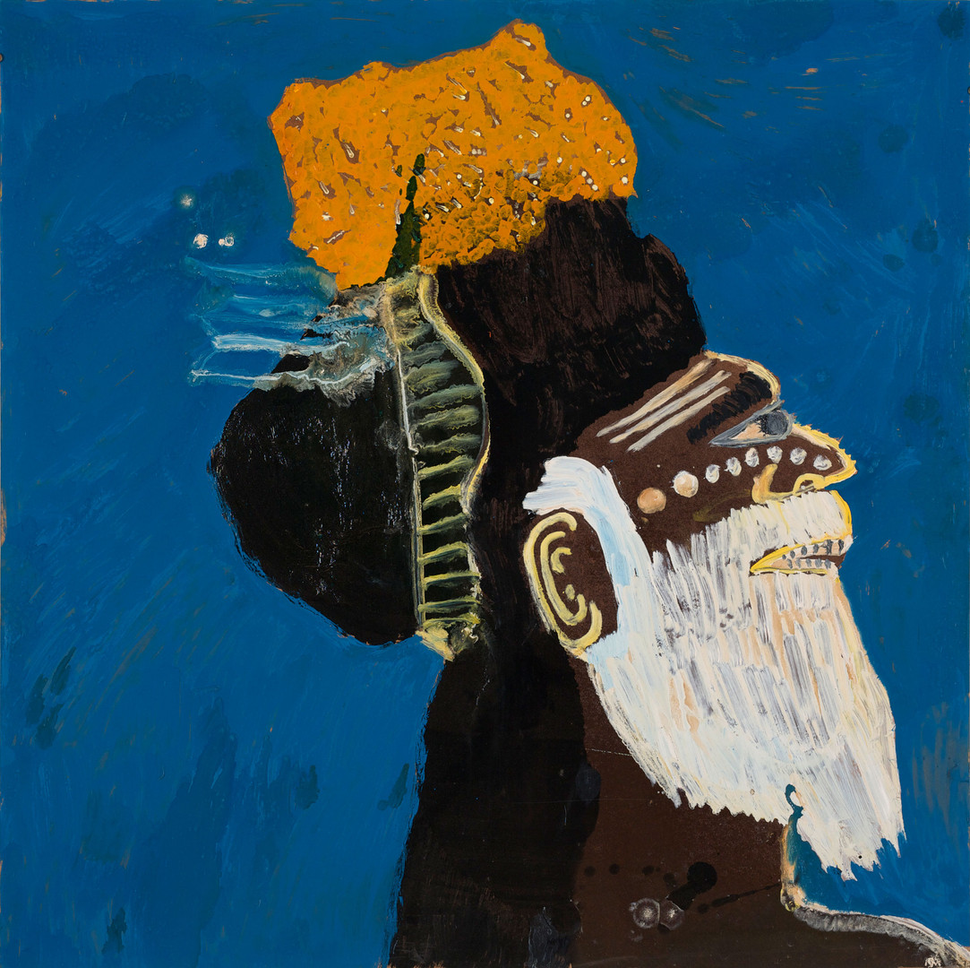 121-20 'The Wise Old PNG Man' 2020 Enamel paint and mixed media on masonite board 109 x 109 cm