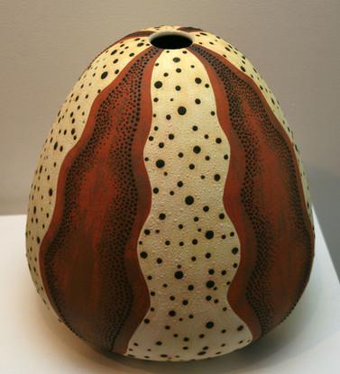 'Sea Urchin 1' 2008 Stoneware, Coil and Throw method, glaze matt 34x34cm