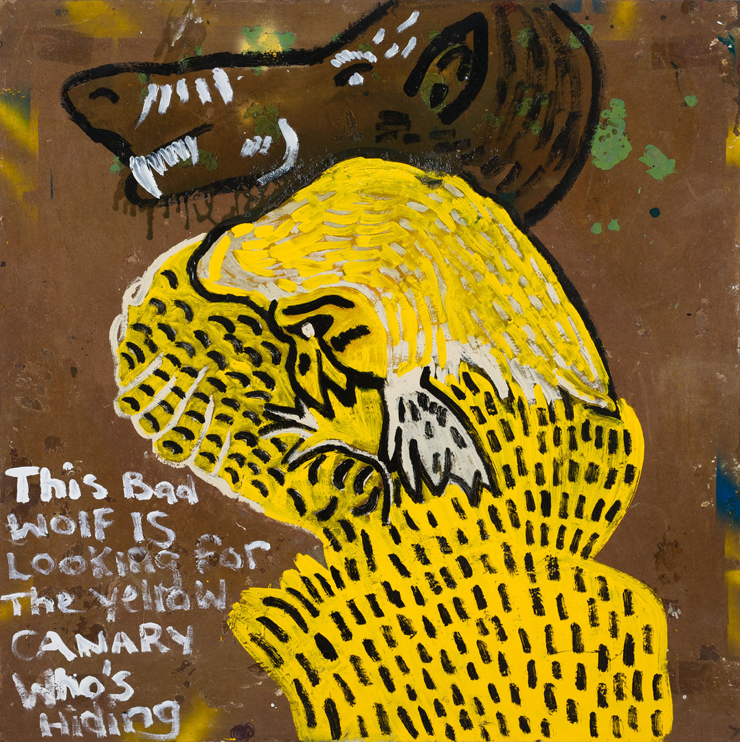 509-19 'The Yellow Canary Is Hiding From The Big Bad Wolf' 2019 Enamel paint and mixed media on masonite board 109 x 109 cm