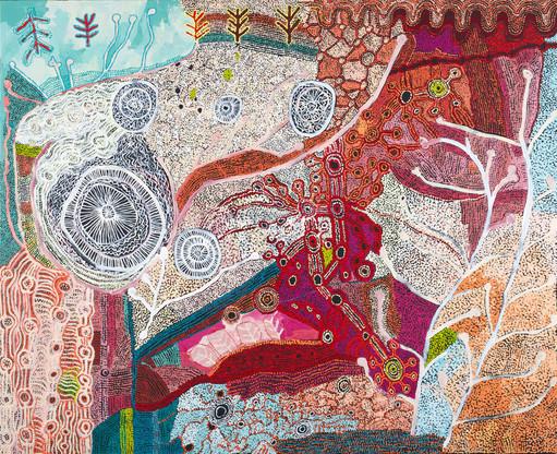 Collaborative by Betty Muffler, Nellie Coulthard, Maringka Burton, Judith Walkabout, Priscilla Singer, Rosalind Tjanyari, Betty Chimney, Raylene Walatinna