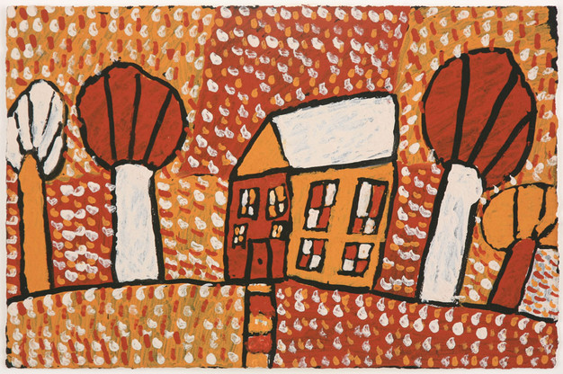 APU 433-28 2008 Natural Ochres & binder on paper 58x39cm
