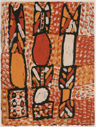 APU 446-28 2008 Natural Ochres & binder on paper 29x39cm