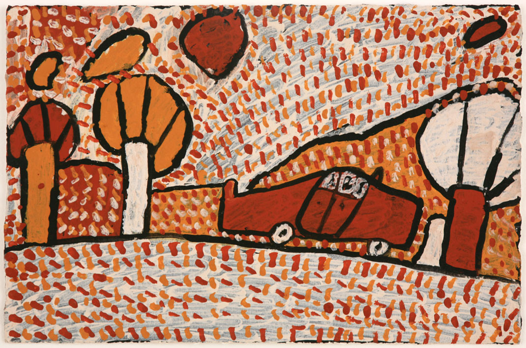 APU 434-28 2008 Natural Ochres & binder on paper 58x39cm
