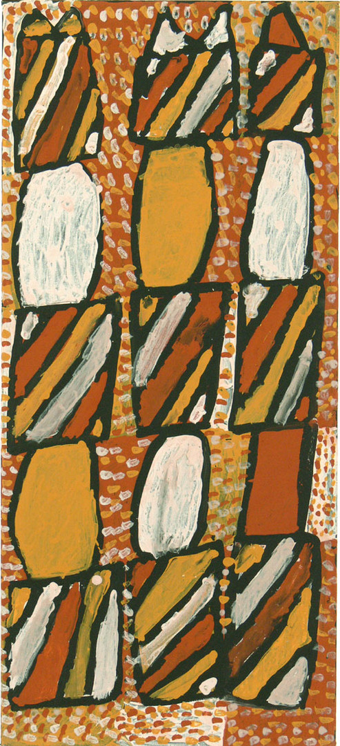 APU 393-27 2007 Natural Ochres & binder on canvas 100x45cm