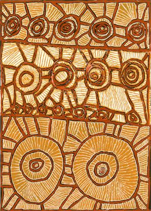 EM 454-27 2007 Natural Ochres & binder on canvas 107x77cm