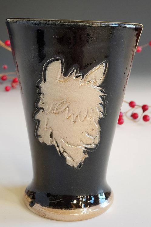 Alpaca Tumber-Black glazed, Soda ash fired