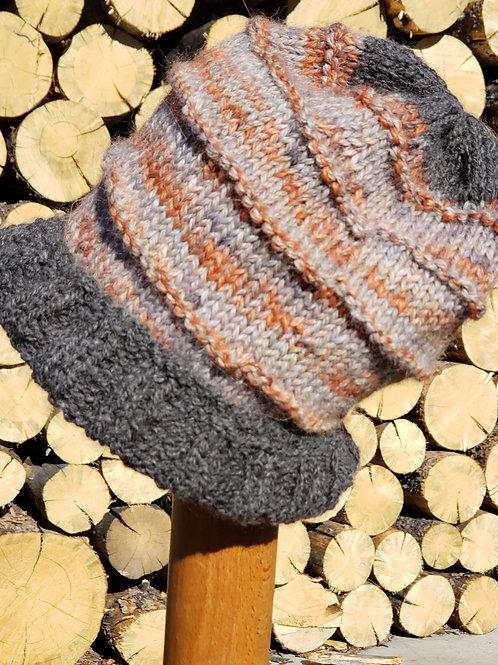 100% Silver Grey Alpaca Knitted Hat