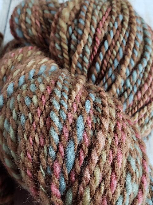 #1 Brown with pastels-50/50 Alpaca/Wool Hand spun Yarn