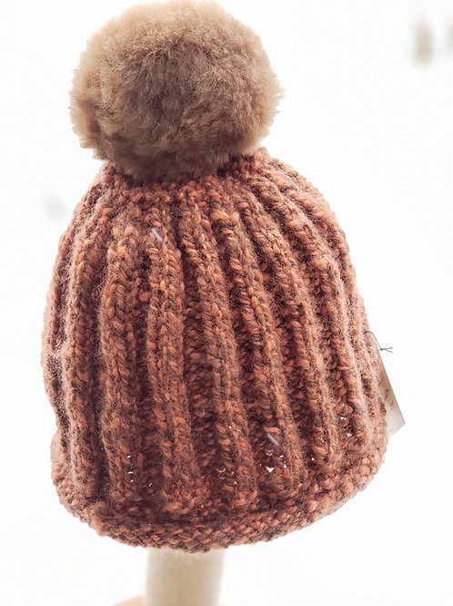 100% Brown/Pumpkin Alpaca Knitted Hat with pom pom