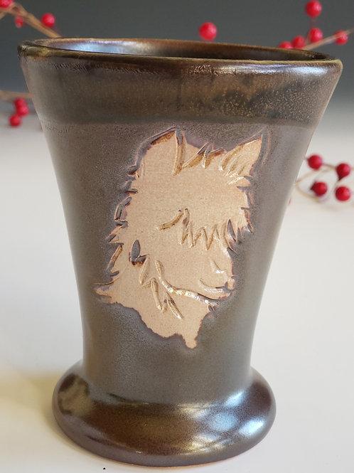 Alpaca Tumber-Two tone Brown glazed, Soda ash fired