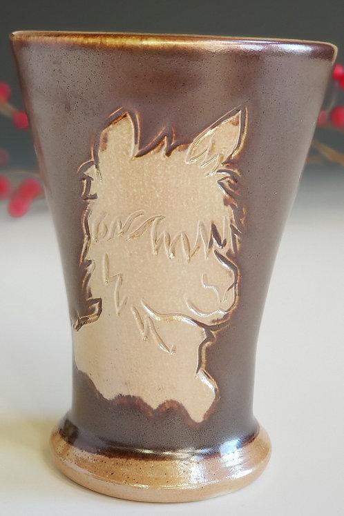 Alpaca Tumber-Brown glazed, Soda ash fired